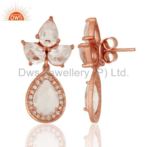 Suppliers 18K Rose Gold Plated Sterling Silver Crystal Quartz And CZ Post Stud Earrings