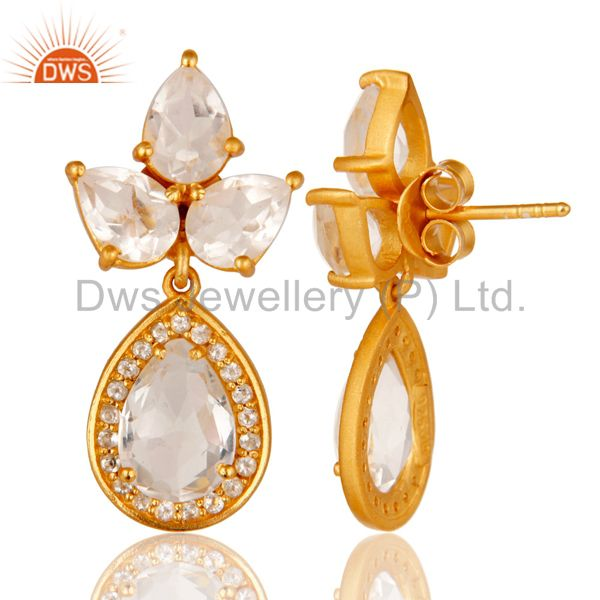 Suppliers 18k Gold Plated Sterling Silver With Crystal Quartz And White Topaz