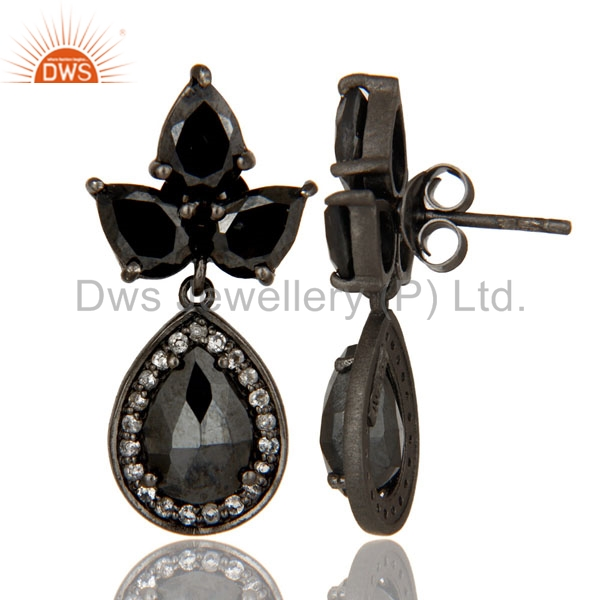 Suppliers Oxidized Sterling Silver Hematite And White Topaz Designer Dangle Earrings