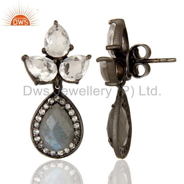 Suppliers Labradorite And Crystal Quartz Gemstone Rhodium Plated Sterling Silver Earrings