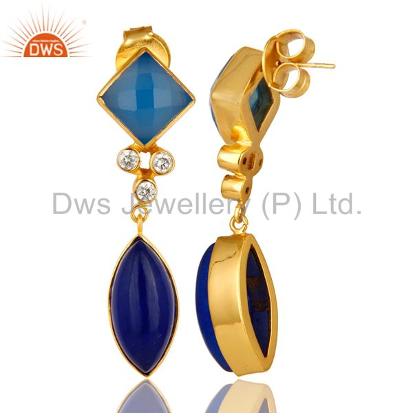 Suppliers 22K Yellow Gold Plated Blue Aventurine And Chalcedony Earrings With CZ