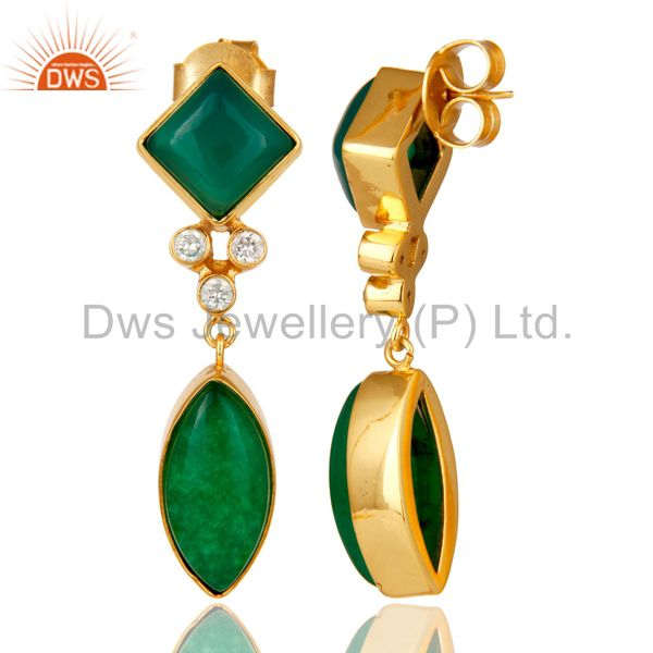 Suppliers 22K Yellow Gold Plated Brass Green Aventurine And Cubic Zirconia Dangle Earrings