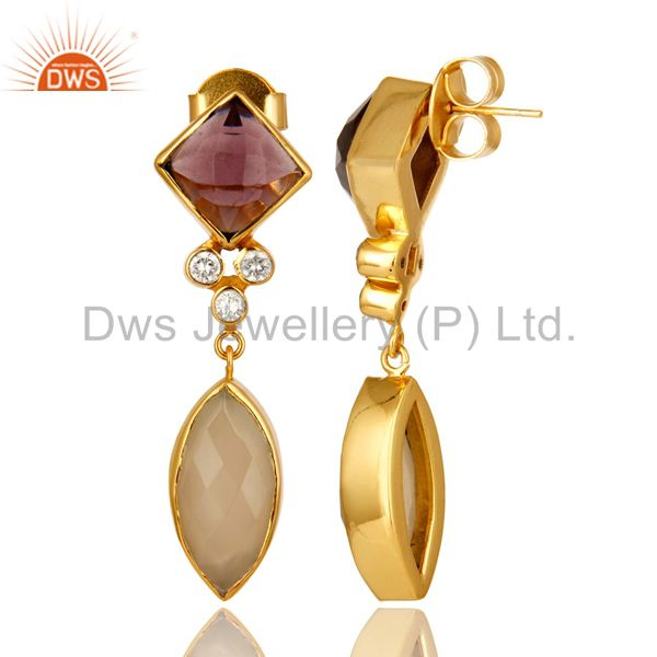 Suppliers 22K Yellow Gold Plated Hydro Amethyst And Chalcedony Dangle Earrings With CZ