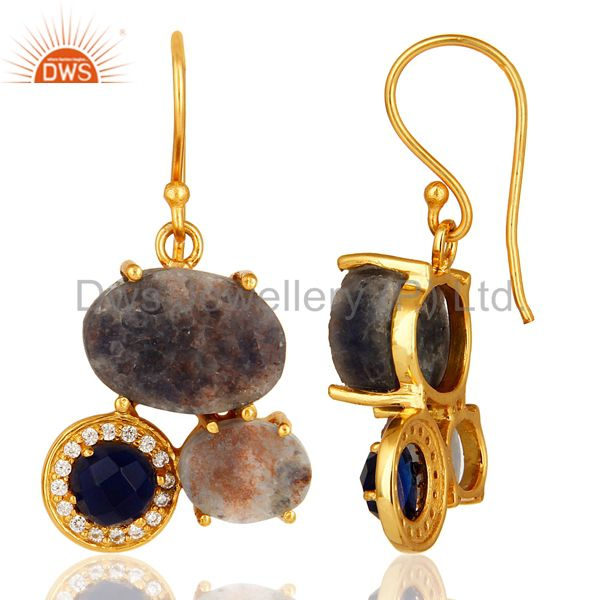 Suppliers 18K Gold Over Sterling Silver Rough Blue Sapphire & CZ Designer Dangle Earrings