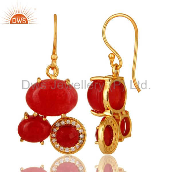 Suppliers 18K Yellow Gold Plated Over Brass Red Aventurine Prong Set Dangle Earrings