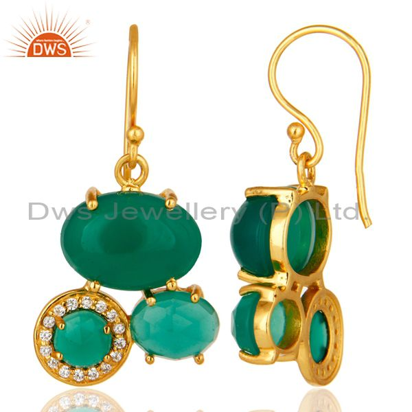 Suppliers 18K Yellow Gold Plated Brass Green Onyx And Cubic Zirconia Designer Earrings