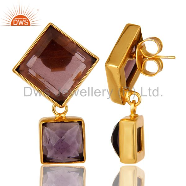 Suppliers Handmade Hydro Amethyst Bezel Set Earrings Made In 18K Yellow Gold Over Brass