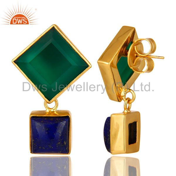 Suppliers 14K Yellow Gold Plated Green Onyx And Lapis Lazuli Gemstone Earrings