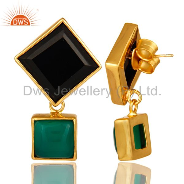Suppliers Handmade Green Onyx And Black Onyx Gemstone Gold Plated Earrings