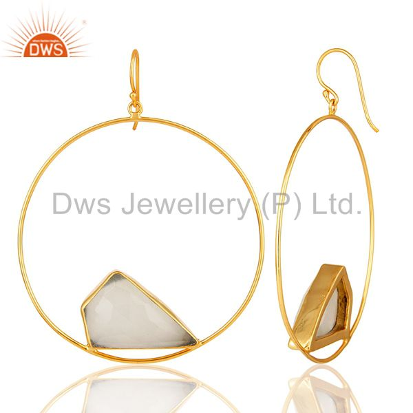 Suppliers 14K Yellow Gold Plated Brass White Moonstone Circle Dangle Earrings