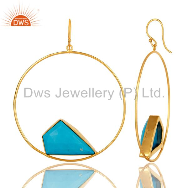 Suppliers 18K Yellow Gold Plated Over Brass Turquoise Bezel Set Dangle Earrings