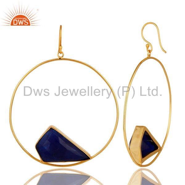 Suppliers Natural Blue Aventurine Gemstone Handmade 22K Gold plated Brass Circle Earrings