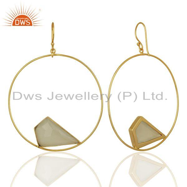 Suppliers White Chalcedony Gemstone Gold Plated Brass fashion Earrings Supplier