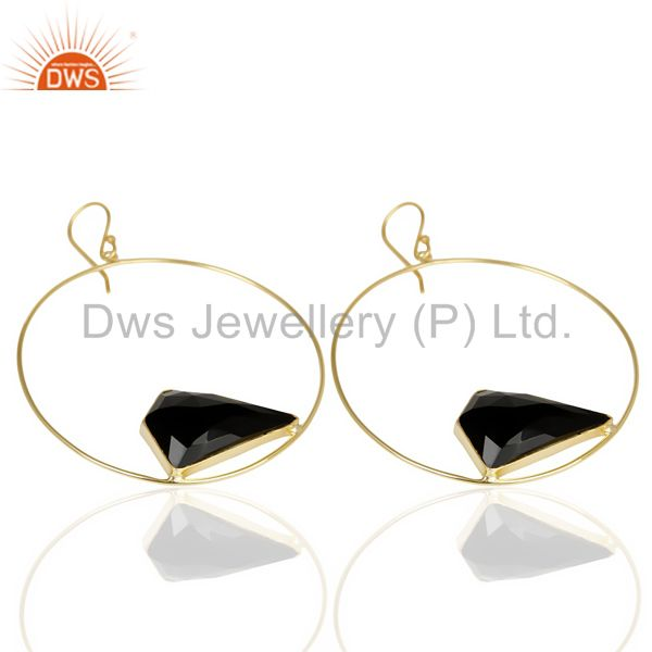 Suppliers Black Onyx Gemstone Gold Plated Brass Fashion Big Earrings Manufacturer India