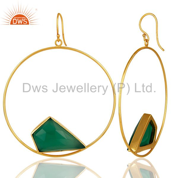 Suppliers Handmade Green Onyx Circle Earrings With 18K Gold Plated