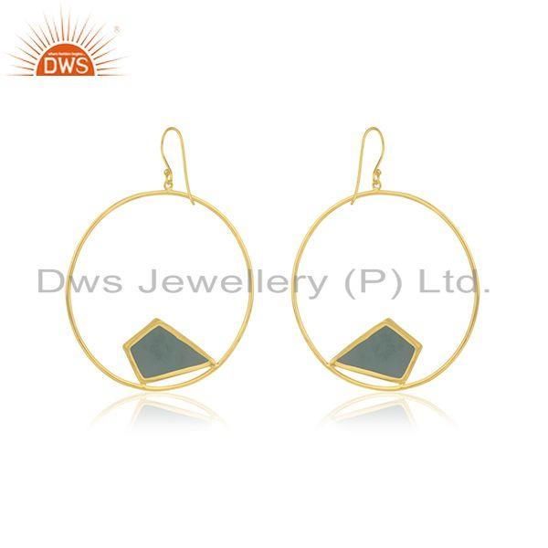Suppliers Yellow Gold Plated 925 Silver Chalcedony Gemstone Round Earring Wholesale