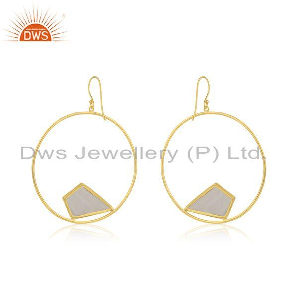 Suppliers White Chalcedony Gemstone Gold Plated 925 Silver Women Earrings Wholesale