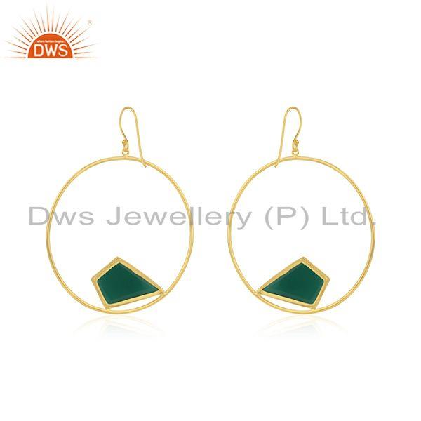 Suppliers Green Onyx Gemstone 925 Sterling Silver Gold Plated Earrings Manufacturer India