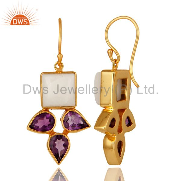 Suppliers Handmade Amethyst And White Agate Earrings With Yellow Gold Plated