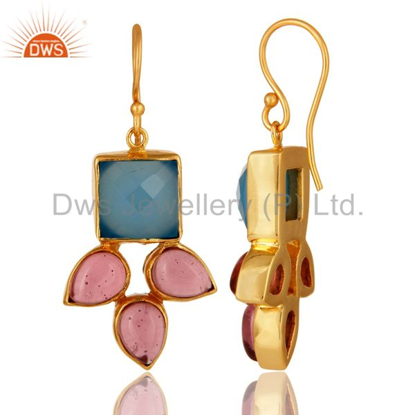 Suppliers Handmade Aqua Blue Chalcedony And Pink Glass Earrings With Gold Plated