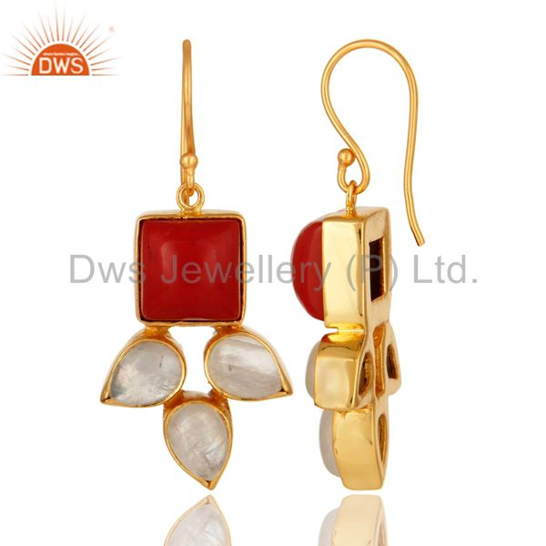 Suppliers Natural Rainbow Moonstone And Coral Gemstone Earrings Made In 18K Gold On Brass
