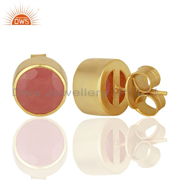Suppliers Gold Plated Aventurine Gemstone Gold Plated Stud Earrings Supplier