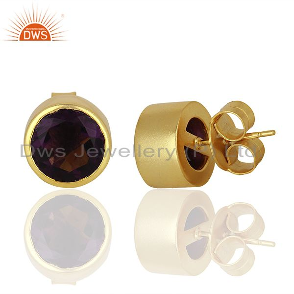 Suppliers Hydro Amethyst Gemstone Gold Plated Womens Fashion Stud Earrings