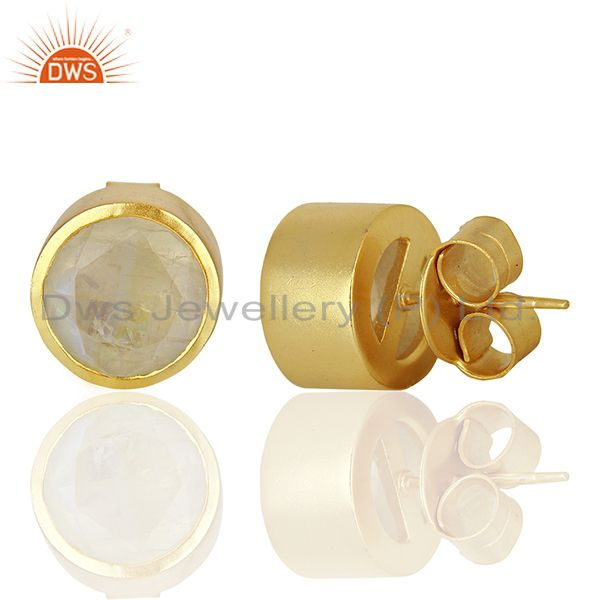 Suppliers Rainbow Moonstone Gold Plated Brass Girls Stud Earrings Jewelry