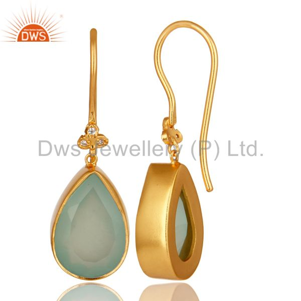 Suppliers 14K Yellow Gold Plated Brass Aqua Blue Chalcedony Gemstone & CZ Dangle Earrings