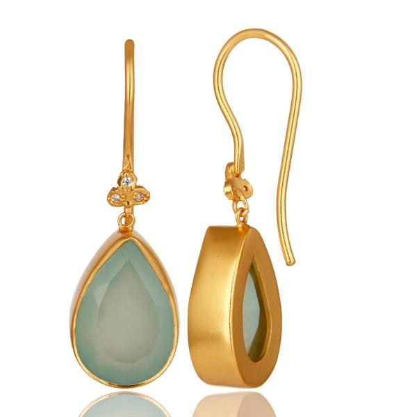 Designers 14K Yellow Gold Plated Brass Aqua Blue Chalcedony Gemstone & CZ Dangle Earrings