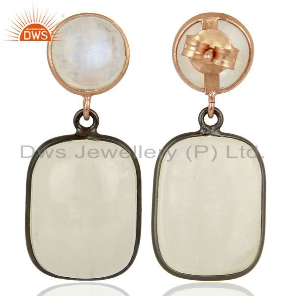 Suppliers Rainbow Moonstone Designer Silver Gemstone Earrings Supplier Jewelry