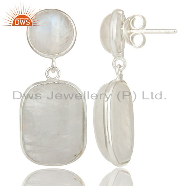 Suppliers Indian Art Deco Solid 925 Sterling Silver Rainbow Moonstone Drops Earrings