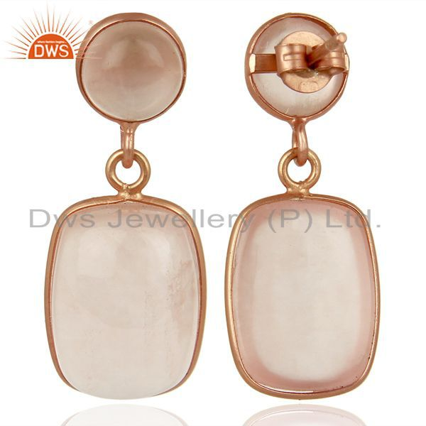 Suppliers Rose Gold Plated Rose Quartz Gemstone 925 Silver Fashion Earrings