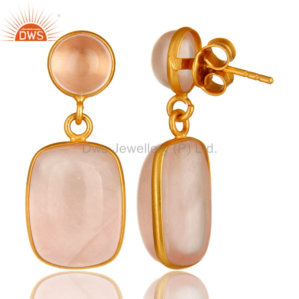 Suppliers 14K Yellow Gold Plated Sterling Silver Rose Quartz Bezel Set Double Drop Earring