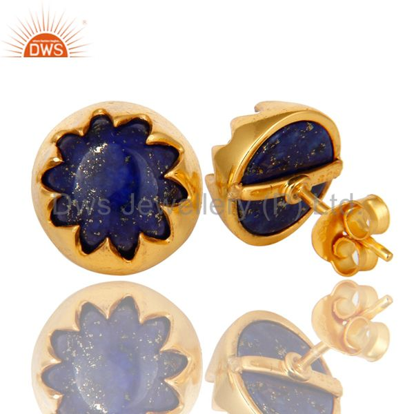 Suppliers 18K Yellow Gold Plated Sterling Silver Lapis Lazuli Gemstone Stud Earrings
