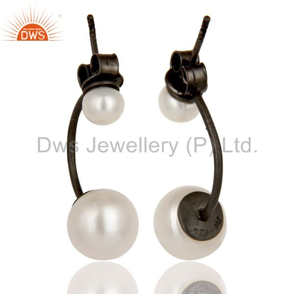 Suppliers Oxidized Sterling Silver Natural White Pearl Designer Post Stud Dangle Earrings