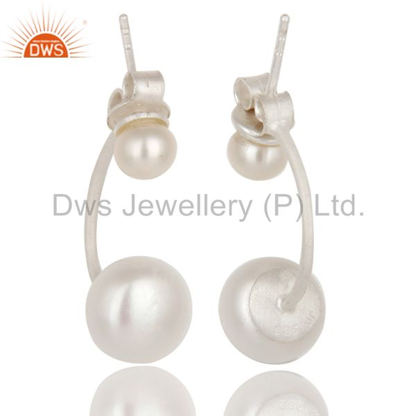 Suppliers 925 Sterling Silver White Pearl Post Stud Dangle Earrings