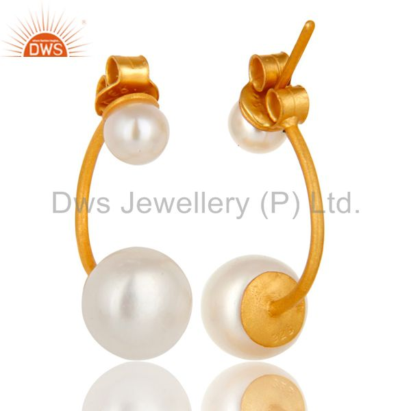 Suppliers 24K Yellow Gold Plated Sterling Silver Natural Pearl Designer Post Stud Earrings