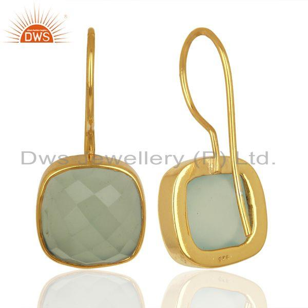 Suppliers Aqua Chalcedony Dangle 14K Gold Plated Sterling Silver Earrings Gemstone Jewelry