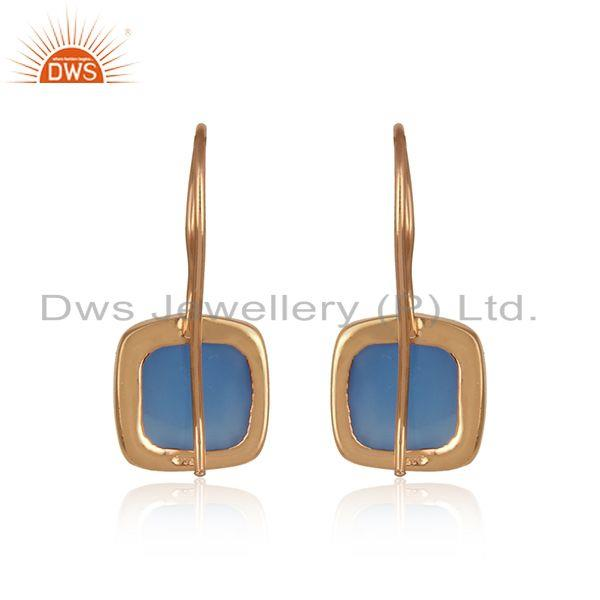 Designer of Blue chalcedony drop earring in rose gold on silver 925