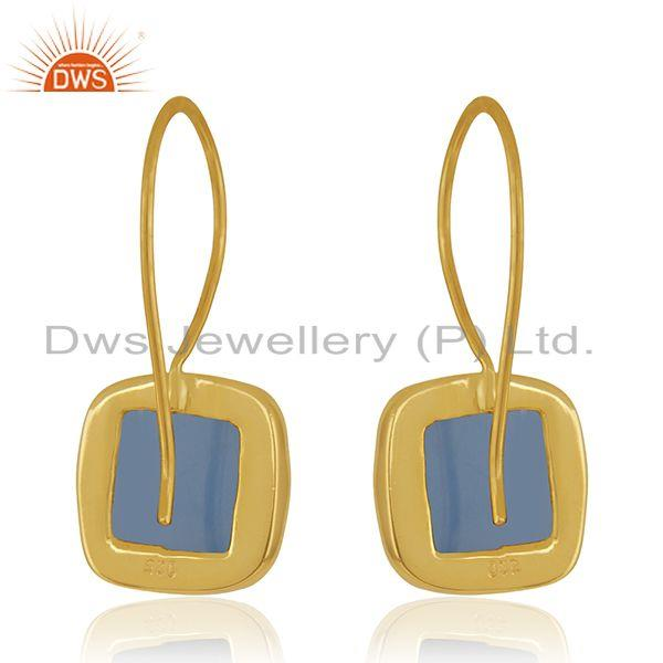 Suppliers Blue Chalcedony Gemstone Yellow Gold Plated 925 Silver Earrings Wholesale INdia