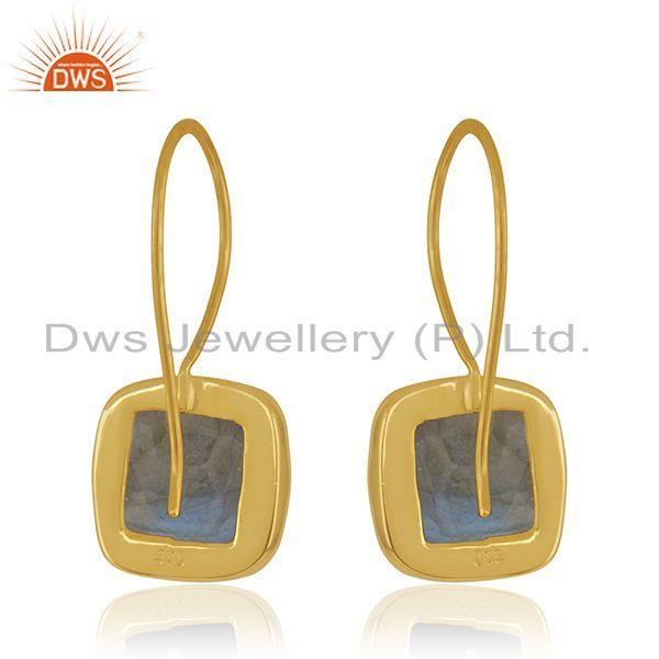 Suppliers Labradorite Gemstone 925 Silver Yellow Gold Plated Stud Earrings Manufacturer