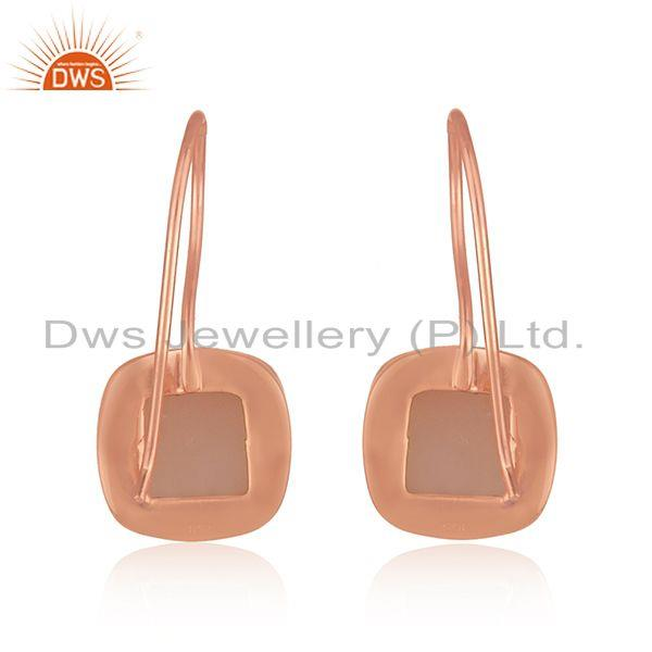 Suppliers Rose Gold Plated 925 Silver Rose Chalcedony Gemstone Earrings Supplier