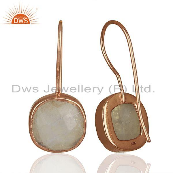 Suppliers Rainbow Moonstone Rose Gold Plated 925 Silver Drop Earrings Jewelry