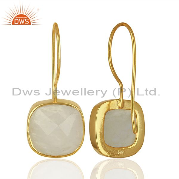 Suppliers Handmade Gold Plated 925 Silver Rainbow Moonstone Earrings Supplier