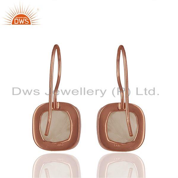 Suppliers Rose Quartz Gemstone Rose Gold Plated Drop Earrings Manufacturer
