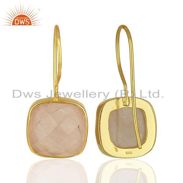 Suppliers Rose Quartz Gemstone Yellow Gold Plated 925 Silver Earring Manufacture