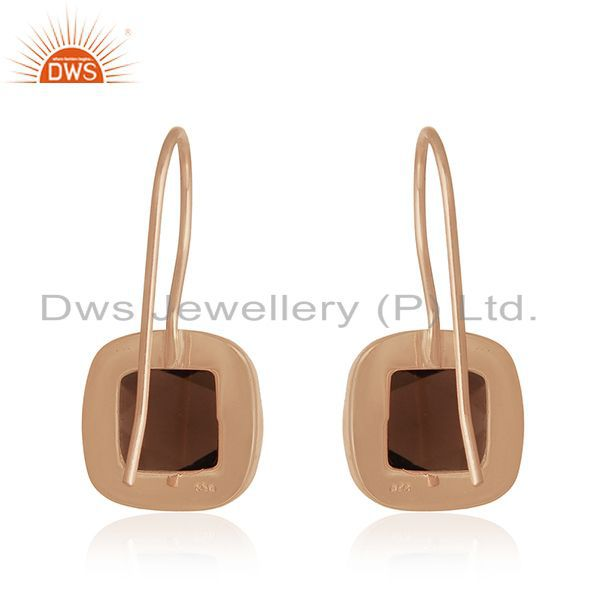 Suppliers Rose Gold Plated 925 Silver Smoky Quartz Gemstone Drop Earrings Manufacturers