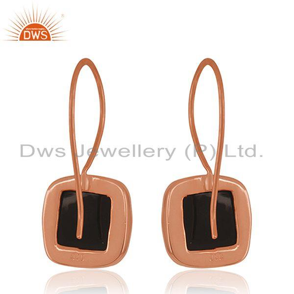Suppliers Black Onyx Gemstone Rose Gold Plated 925 Silver Drop Earring Manufacturer Jaipur
