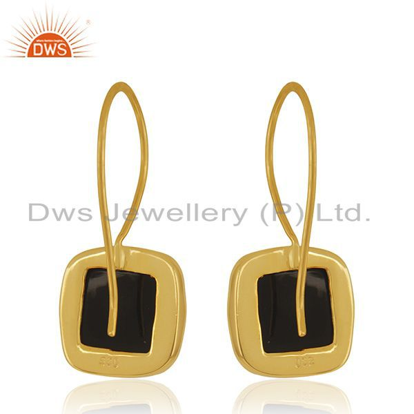 Suppliers Black Onyx Gemstone 925 Sterling Silver Gold Plated Drop Earrings Wholesale
